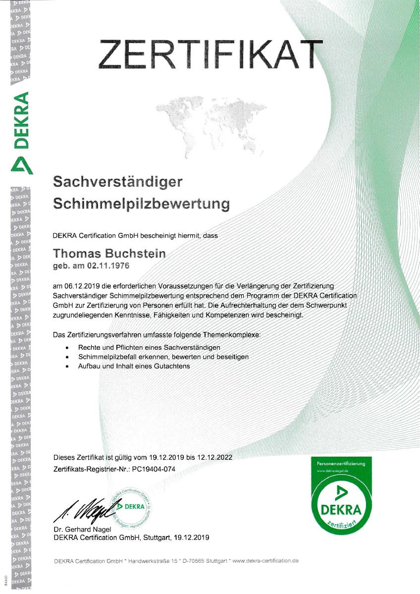 DEKTE Zertifikat Buchstein